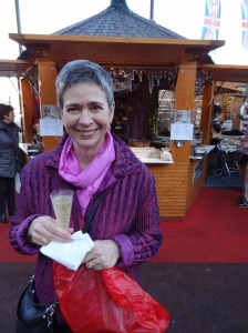 Grabbing a glass of bubbly at the Monte Carlo Christmas market.