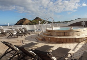 The hot tub forward deck on the Seabourn Spirit