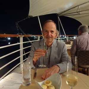 Art enjoys the impeccable service at Restaurant II while docked in Antigua one evening.