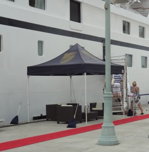 Seabourn lays out the red carpet on the pier for its guests.