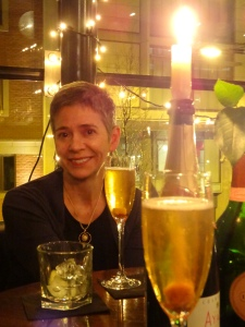Patty enjoying a champagne cocktail at Epernay Champagne Bar, Manchester
