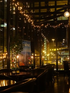 Epernay Champagne Bar in Manchester, UK by night