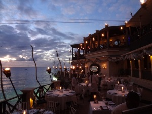 The Cliff's spectacular ambience as the sun goes down along the Platinum Coast of Barbados