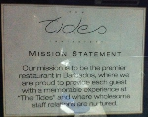 Hmm...the service pledge at The Tides.