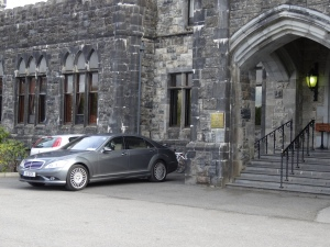 Our Irish drive parked outside Ashford Castle.