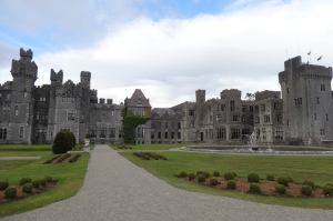 Beautiful Ashford Castle from the lakefront view.