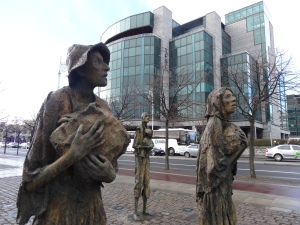 The Famine Memorial on the shore of the River Liffey in Dublin.  Take a few moments to remember.