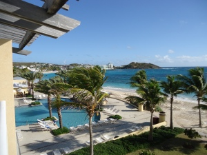 The view from our oceanfront room at the Westin Dawn Beach on the island of Sint Maarten.
