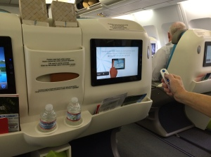 The new in-flight entertainment system on Air Tahiti Nui. (We were in business class, but even economy has the screens.)