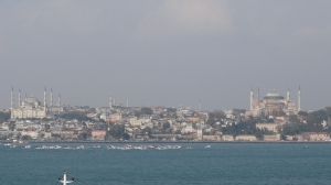 Arriving in Istanbul by ship.
